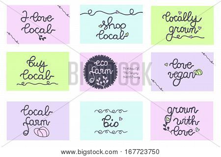 Buy local vector badges set. Cards, labels for local produce, farmers market, eco farm, shop, package, food store, harvest festival. Local Farm. Locally grown. Shop local. Vegan.