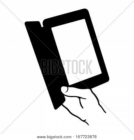 Hand holding an electronic book reader ( shade picture )