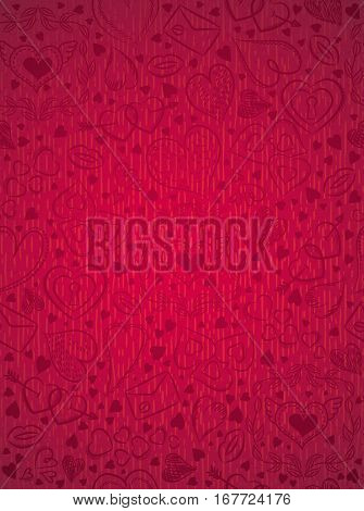 Red patterned background with valentine hearts vector illustration. Ideal for printing onto fabric and paper or scrap booking.