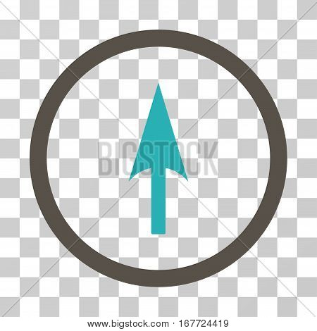 Arrow Axis Y rounded icon. Vector illustration style is flat iconic bicolor symbol inside a circle grey and cyan colors transparent background. Designed for web and software interfaces.