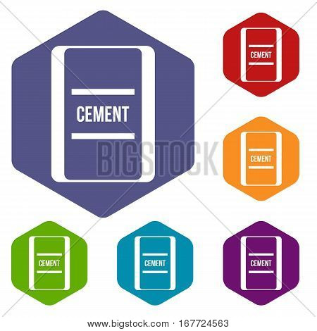 One bag of cement icons set rhombus in different colors isolated on white background