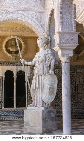 Courtyard of Casa de Pilatos Seville, Spain, imitation of antique statue 16th century