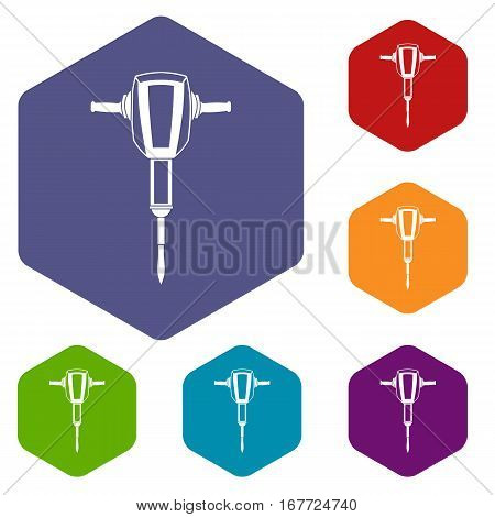 Pneumatic plugger hammer icons set rhombus in different colors isolated on white background