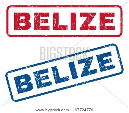 Belize text rubber seal stamp watermarks. Vector style is blue and red ink caption inside rounded rectangular shape. Grunge design and dust texture. Blue and red signs.