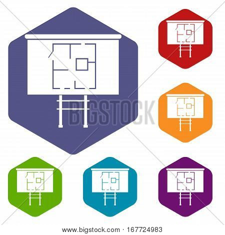 Project of house on a board icons set rhombus in different colors isolated on white background