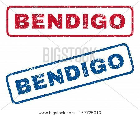 Bendigo text rubber seal stamp watermarks. Vector style is blue and red ink caption inside rounded rectangular banner. Grunge design and unclean texture. Blue and red emblems.
