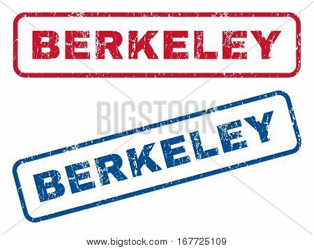 Berkeley text rubber seal stamp watermarks. Vector style is blue and red ink caption inside rounded rectangular banner. Grunge design and scratched texture. Blue and red stickers.