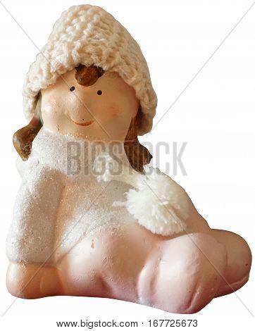 Little girl, porcelain figurine, isolated on white background.
