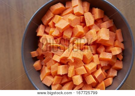 Sliced Carrots In A Brown Plate.