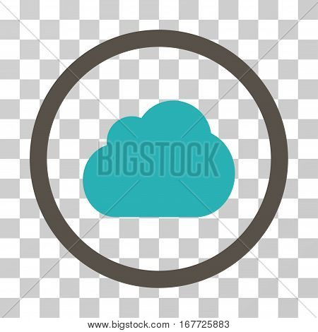 Cloud rounded icon. Vector illustration style is flat iconic bicolor symbol inside a circle grey and cyan colors transparent background. Designed for web and software interfaces.