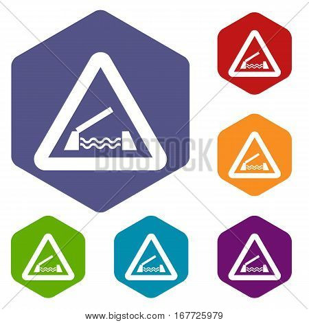 Lifting bridge warning sign icons set rhombus in different colors isolated on white background