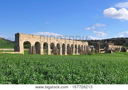 fragment of aqueduct on island Gozo near Malta