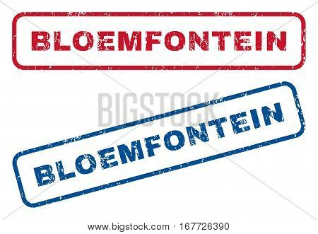 Bloemfontein text rubber seal stamp watermarks. Vector style is blue and red ink tag inside rounded rectangular shape. Grunge design and dust texture. Blue and red stickers.