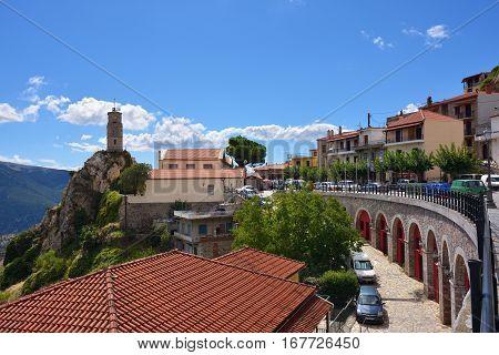 Arahova Greece - Sept 20 2016: Street in the famous resort of Arachova on mountain Parnassos Greece