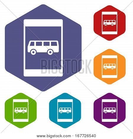 Bus stop sign icons set rhombus in different colors isolated on white background