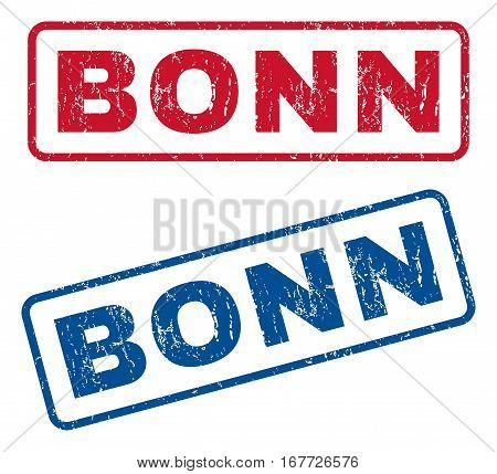 Bonn text rubber seal stamp watermarks. Vector style is blue and red ink caption inside rounded rectangular banner. Grunge design and dirty texture. Blue and red stickers.