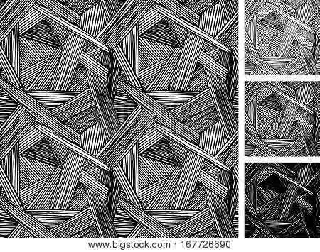 Seamless pattern of hand drawn sketches rough hatching grunge pattern. Texture has three different shades: light mid and dark tone.