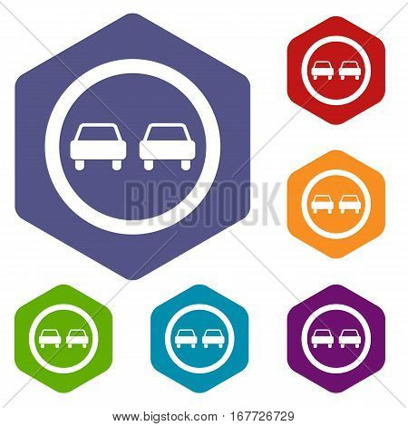 No overtaking road traffic sign icons set rhombus in different colors isolated on white background