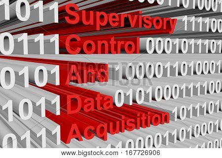 Supervisory Control And Data Acquisition in the form of binary code, 3D illustration