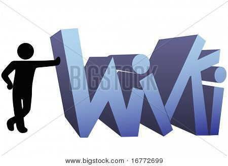 A symbol person leans on a wiki icon design.