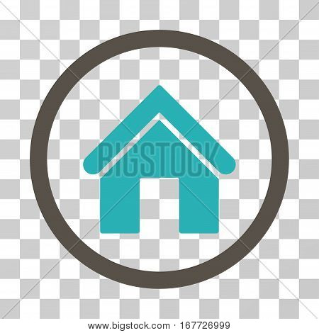 Home rounded icon. Vector illustration style is flat iconic bicolor symbol inside a circle grey and cyan colors transparent background. Designed for web and software interfaces.