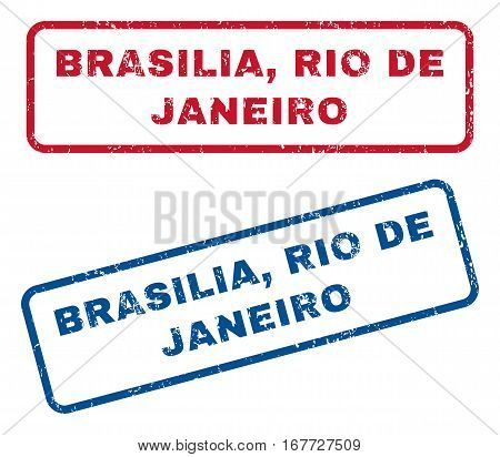 Brasilia, Rio De Janeiro text rubber seal stamp watermarks. Vector style is blue and red ink caption inside rounded rectangular shape. Grunge design and dirty texture. Blue and red emblems.