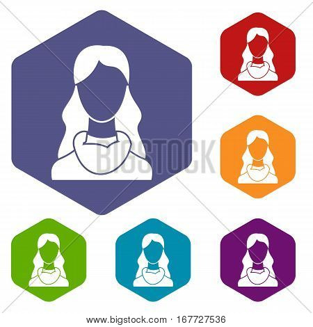 Woman icons set rhombus in different colors isolated on white background