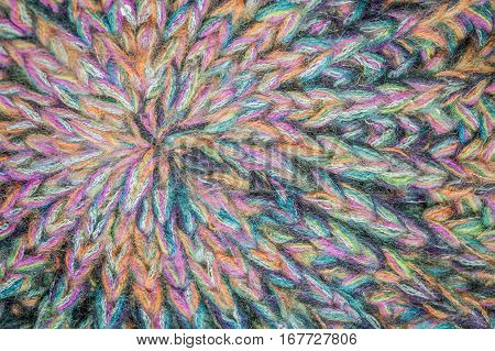 closeup of wool threads in rainbow colors