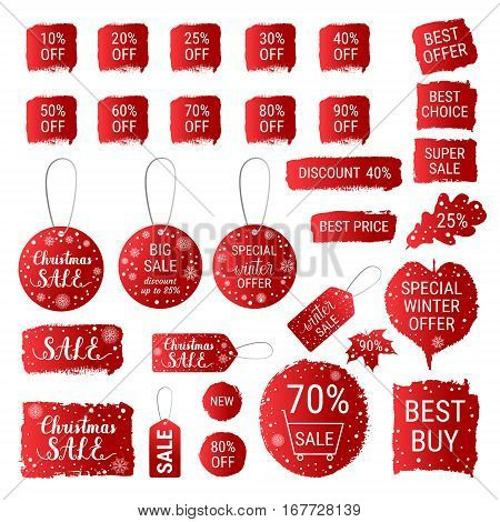Big Winter Sale, Christmas Sale, Special Winter Offer, Best Price Red Banners, Labels, Tags, Shapes