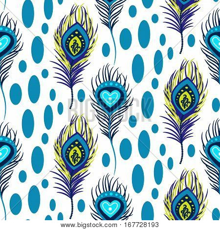 Peacock blue and green seamless vector pattern. Peafowl feathers tileable print for textile or wrap paper.