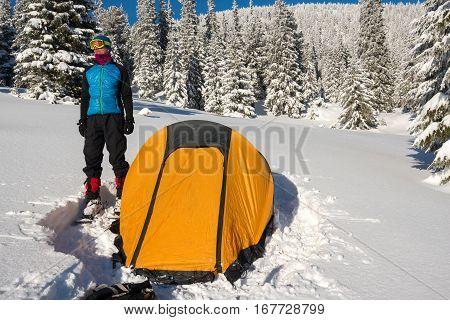 Dreaming Man, Traveler Stands Near A Tent