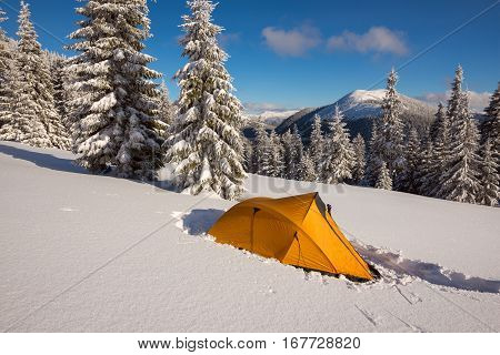 Bright yellow tent at alpine meadow among the snow-covered firs on background panorama of mountains and colorful sky - magic winter adventure.