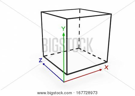 system coordinate cube on white background 3D illustration