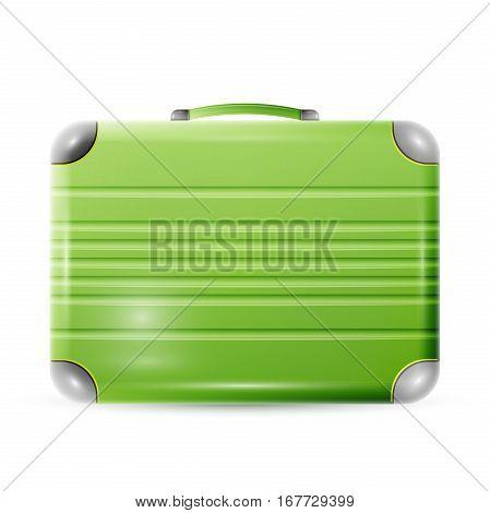 Large polycarbonate suitcase isolated on white background