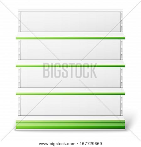 Set of empty supermarket shelves isolated on white background. Vector illustration, EPS 10