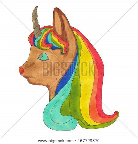 Little Unicorn. Babmi unicorn. Unicorn head isolated. Fictional mythological animal.