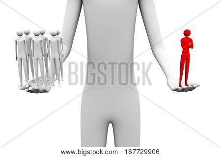 team leader man holding in one hand the team and the other leader 3d illustration
