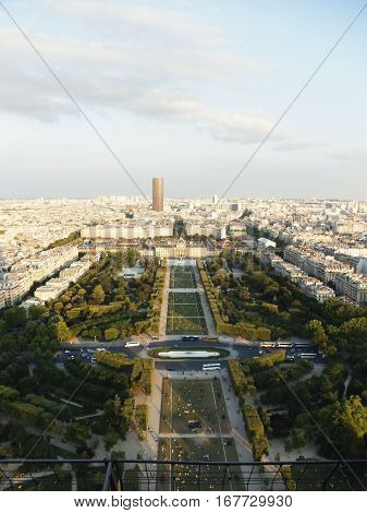 Champ de Mars and nearby areas view from the top of Eiffel tower in Paris, France. Famous tourist destination in Europe.