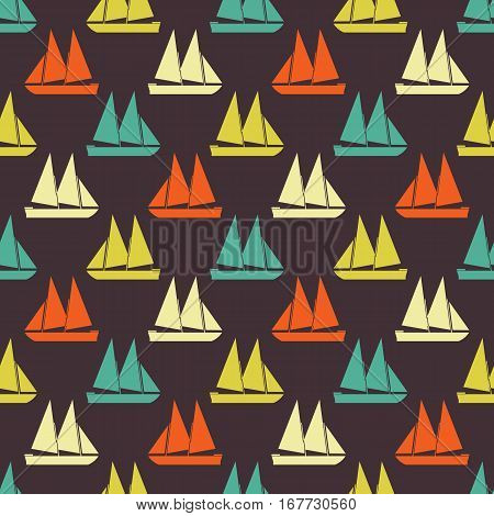 Boat seamless pattern. Vector illustration for nautical design. Bright yacht, ship, sailboat transport pattern. Marine sea wallpaper background. Cartoon silhouette shape wrapping pattern
