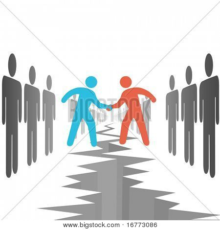People on two opposition sides make a deal agreement settle differences over a chasm crack.