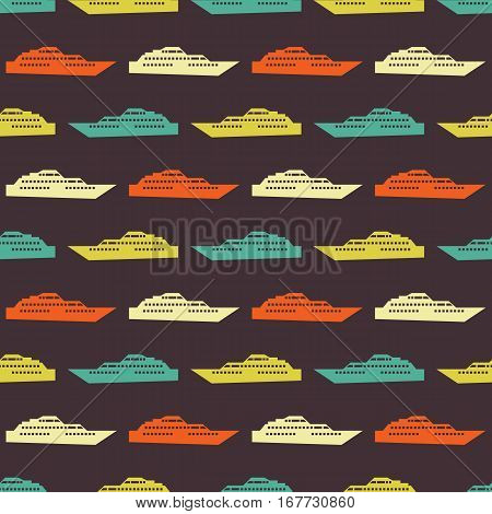 Ship seamless pattern. Vector illustration for nautical design. Bright yacht, ship, sailboat transport pattern. Marine sea boat wallpaper background. Cartoon silhouette shape wrapping pattern
