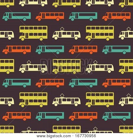 Retro bus seamless pattern. Vector illustration for transport design. Bright vehicle pattern. Bus wallpaper background. Cartoon silhouette shape. Transportation school bus shape wallpaper pattern