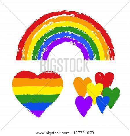 Vector Gay Pride Design Elements: Flag, Rainbow, Heart, Ribbon, Smear. Lgbt, Gay And Lesbian Pride S