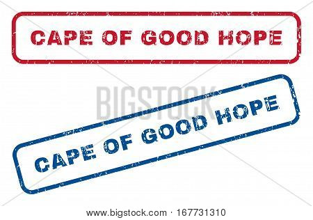 Cape Of Good Hope text rubber seal stamp watermarks. Vector style is blue and red ink tag inside rounded rectangular banner. Grunge design and scratched texture. Blue and red signs.