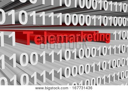 telemarketing is presented in the form of binary code 3d illustration