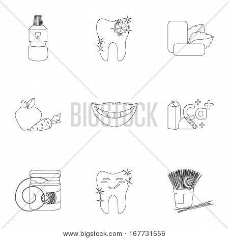 Dental care set icons in outline design. Big collection of dental care vector symbol stock illustration