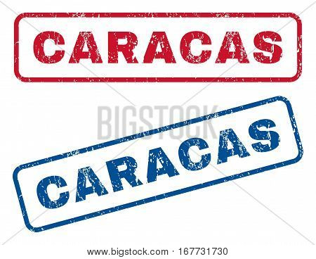 Caracas text rubber seal stamp watermarks. Vector style is blue and red ink caption inside rounded rectangular banner. Grunge design and dirty texture. Blue and red stickers.