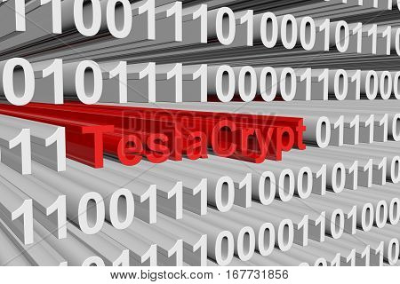 TeslaCrypt is presented in the form of binary code 3d illustration