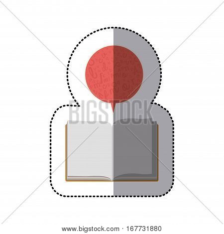 middle shadow sticker with open book and dialogue bubble vector illustration