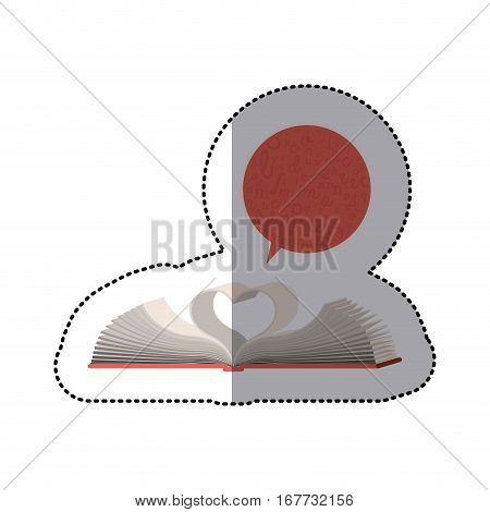 middle shadow sticker with open book and dialogue bubble with sheets in shape of heart vector illustration